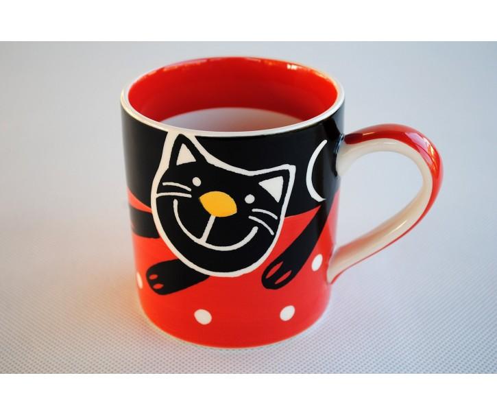 Červený hrnek veselá kočka 0.3L