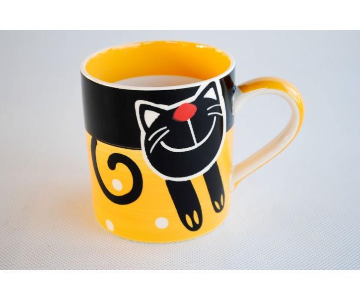 Žlutý hrnek veselá kočka 0.3L