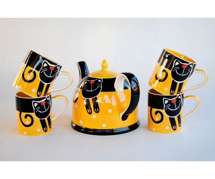 Sada konvice + 4x žlutý hrnek veselá kočka 0.3L