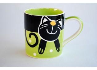 Zelený hrnek veselá kočka 0.3L