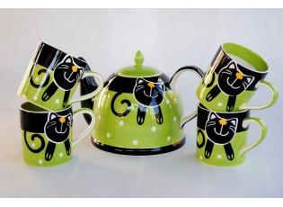 Sada konvice + 4 x zelený hrnek veselá kočka 0.3L