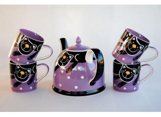 Sada konvice + 4x fialový hrnek veselá kočka 0,3l
