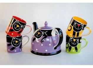 Sada fialová konvice + 4x hrnek veselá kočka mix barev 0,3l