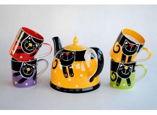 Sada žlutá konvice + 4x hrnek veselá kočka mix barev 0,3l