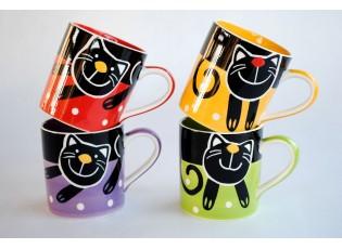 Sada 4x hrnek veselá kočka mix barev 0,3l
