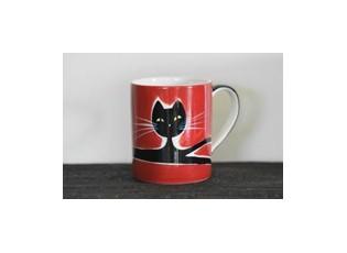 Červený hrnek ležící kočka 0.6L