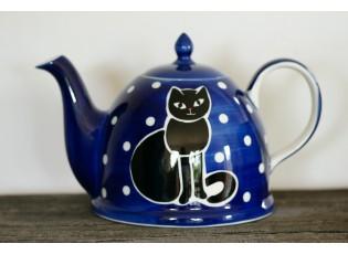 Modrá konvička sedící kočka 1.8l