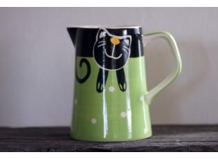 Zelený džbán veselá kočka 2l