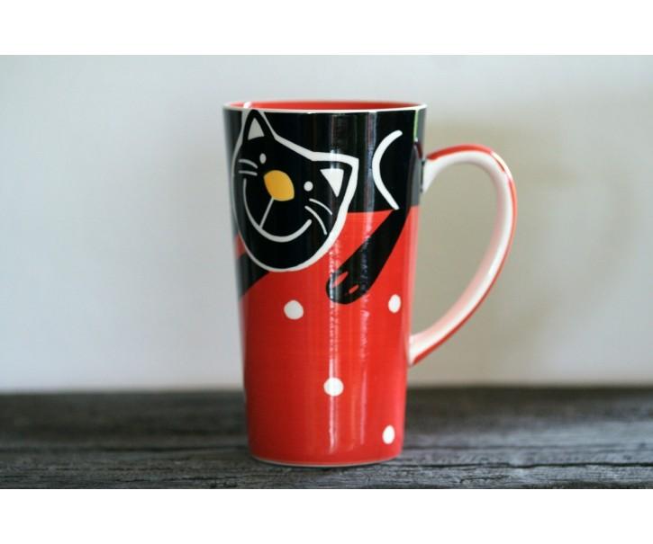 Červený hrnek veselá kočka 0.47L vysoký