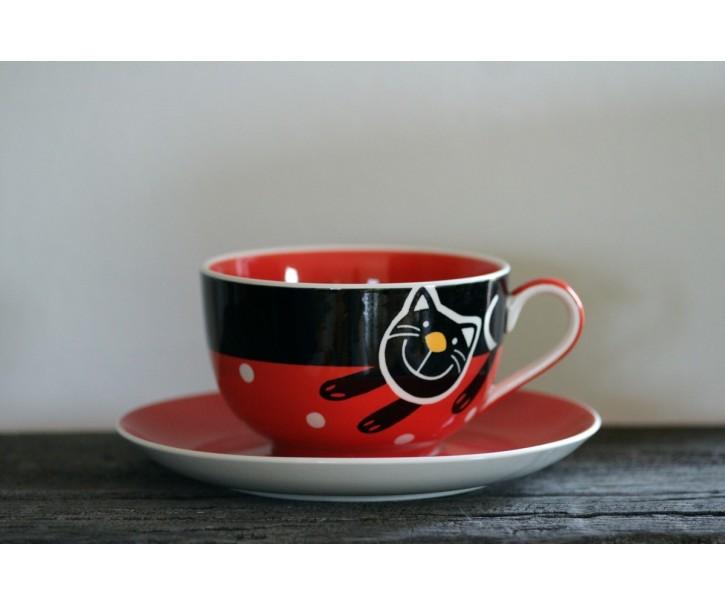 Červený hrnek veselá kočka 0.5L s podšálkem