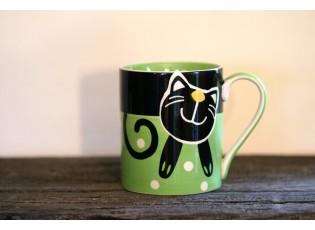 Zelený hrnek veselá kočka 0.4L