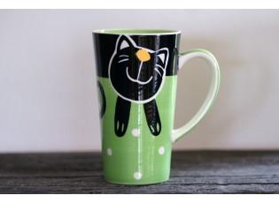 Zelený hrnek veselá kočka 0.47L vysoký