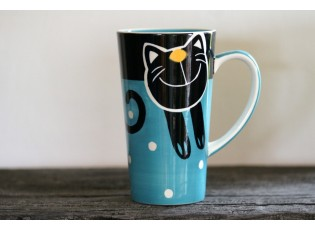 Modrý hrnek veselá kočka 0.47L vysoký