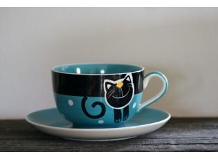 Modrý hrnek veselá kočka 0.5L s podšálkem