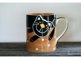 Hnědý hrnek veselá kočka 0.6L