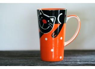 Oranžový hrnek veselá kočka 0.47L vysoký