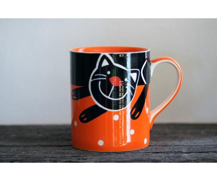 Oranžový hrnek veselá kočka 0.5L
