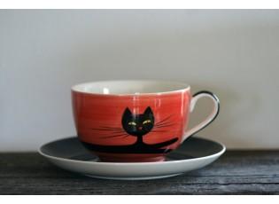 Červený hrnek ležící kočka 0.5L s podšálkem