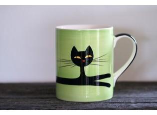 Zelený hrnek ležící kočka 0.6L